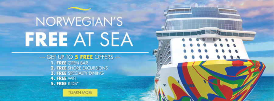 Choose up to 5 Free offers! 1. FREE OPEN BAR 2. FREE SHORE EXCURSIONS 3. FREE SPECIALTY DINING 4. FREE WIFI 5. FREE KIDS* Click to learn more.